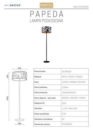 LAMPA PODŁOGOWA KOLOR SREBRNY