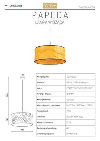 LAMPA WISZĄCA KOLOR MIODOWY